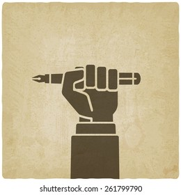 office worker hand with pen old background - vector illustration. eps 10