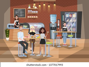 Office worker having lunch in buffet. Coffee break or dinner. People communicate with each other. Dining room design. Vector illustration in cartoon style