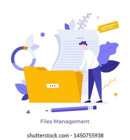 Office worker holding giant folder for storing papers. Modern concept of file management system, online document storage service, archive, paperwork organization. Flat cartoon vector illustration.