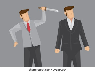Office worker holding a knife behind another business executive. Creative vector illustration for backstabbing metaphor and office politics concept isolated on grey background.