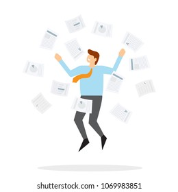 Office worker jumps up and throws paper. Concept of success in the work. Vector illustration