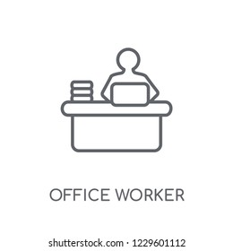 Office worker linear icon. Modern outline Office worker logo concept on white background from Professions collection. Suitable for use on web apps, mobile apps and print media.