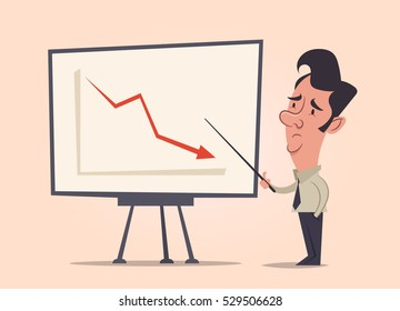 Office Worker Making a Presentation: Failure. Vector Illustration