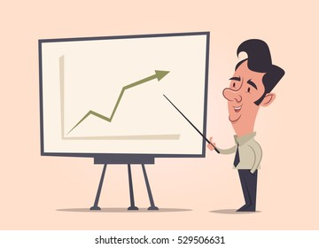 Office Worker Making a Presentation: Success. Vector Illustration