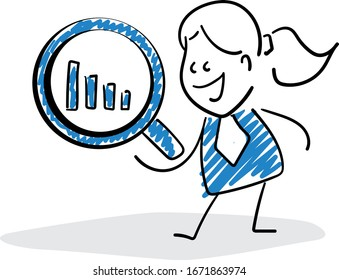 Office worker manager businessman with bar chart. Girl hand drawn doodle line art cartoon design character - isolated vector illustration outline of woman.