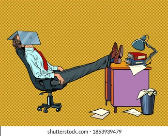 Office worker Manager resting in a work chair. Fatigue. Pop art retro illustration kitsch vintage 50s 60s style