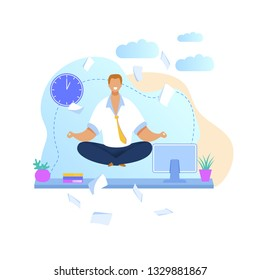 Office Worker Meditating Flat Vector Illustration. Relaxed Businessman Doing Yoga at Workplace. Calm, Smiling Employee Taking Break During Workday. Time Management. Man in Lotus Position