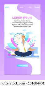 Office Worker Meditating Vector Website Banner. Relaxed Businessman at Workplace. Calm, Smiling, Peaceful Employee, Clearing Mind. Man in Yoga Lotus Position Flat Cartoon Landing Page Template