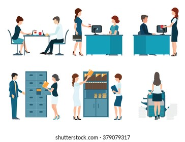 Office worker, office people working isolated on white background , office desk, business people vector illustration.