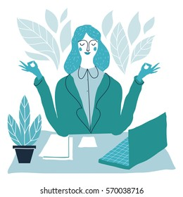 Office worker relaxes and meditates in the lotus position. Business woman meditating.  Vector handdrawn creative illustration.