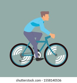 office worker riding a bike to the office