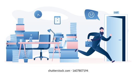 Office worker runs away from work. Male employee and huge heap of paper documents and folders at workspace. Open door,funny Businessman quickly leaves workplace.Overworking concept.Vector illustration