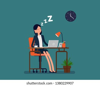 Office worker sleeping. Vector illustration business rest concept, Tired person, Flat business character design.