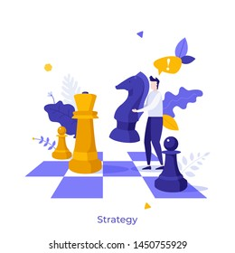 Office worker standing on chessboard and moving giant knight chess piece. Modern concept of strategy game, strategic planning, tactics in business competition. Flat cartoon vector illustration.
