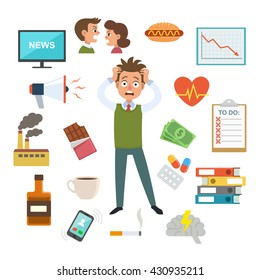 Office worker in stress and panic, surrounded by work and stress factors icons, concept for stress at work, burnout, too much work, vector illustration.