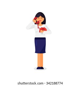 Office worker is talking on telephone. Vector