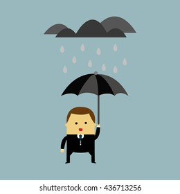 Office Worker with Umbrella Standing Under the Rain