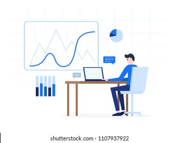 Office worker using notebook pc at workplace vector illustration. Young male creating diagram info chart with statistical data and chatting with someone