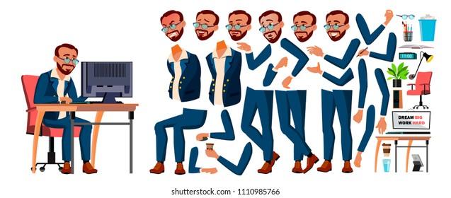 Office Worker Vector. Animation Creation Set. Businessman Worker. Lifestyle Generator. Animated Elements. Front, Side View. Job. Partner, Clerk, Servant, Employee. Cartoon Illustration
