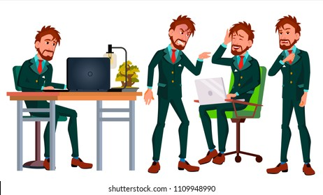 Office Worker Vector. Businessman Worker. Poses. Animated Elements. Front, Side View. Happy Job. Partner, European Clerk, Servant, Employee. Isolated Flat Cartoon Illustration