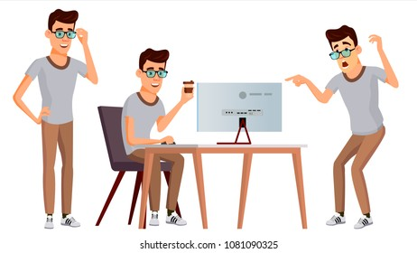 Office Worker Vector. Face Emotions, Various Gestures. Animation Creation Set. Business Human. Smiling Manager, Servant, Workman, Officer. Flat Character Illustration