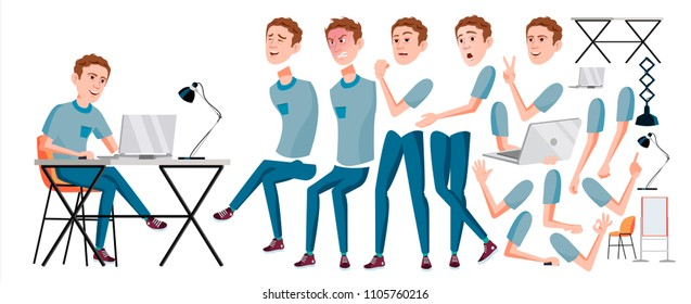 Office Worker Vector. Face Emotions, Various Gestures. Animation Creation Set. Adult Business Male. Successful Corporate Officer, Clerk, Servant. Isolated Flat Character Illustration