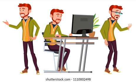 Office Worker Vector. Face Emotions, Various Gestures. Businessman Person. Poses. Front, Side View. Office. Smiling Executive, Servant, Workman, Officer. Isolated Character Illustration
