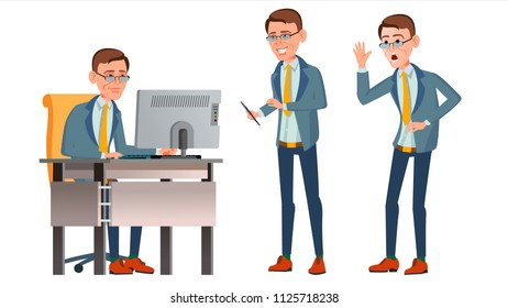 Office Worker Vector. Face Emotions, Various Gestures. Adult Business Male. Successful Corporate Officer, Clerk, Servant. Isolated Flat Character Illustration