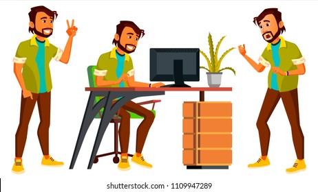 Office Worker Vector. Indian Businessman Worker. Animated Elements. Poses. Front, Side View. Happy Job. Partner, Clerk, Servant, Employee. Isolated Flat Cartoon Illustration