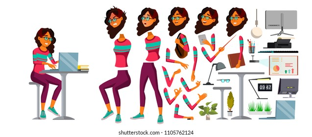 Office Worker Vector. Woman. Happy Clerk, Servant, Employee. Arab, Saudi Business Woman Person. Lady Face Emotions, Various Gestures. Animation Creation Set. Flat Character Illustration