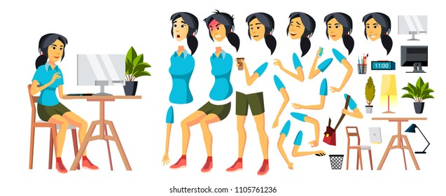 Office Worker Vector. Woman. Modern Employee, Laborer. Korean, Vietnamese, Japanese Business Worker. Face Emotions, Various Gestures. Animation Creation Set. Isolated Cartoon Character Illustration