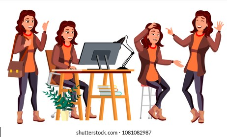 Office Worker Vector. Woman. Smiling Servant, Officer. Business Person. Face Emotions, Various Gestures. Flat Cartoon Illustration