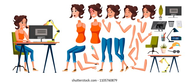 Office Worker Vector. Woman. Smiling Servant, Officer. Business Human. Lady Face Emotions, Various Gestures. Animation Creation Set. Isolated Flat Cartoon Character Illustration