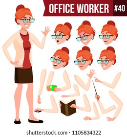 Office Worker Vector. Woman. Smiling Servant, Officer. Businessman Human. Lady Face Emotions, Various Gestures. Animation Creation Set. Isolated Flat Cartoon Character Illustration