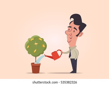 Office Worker Watering the Money Tree. Vector Illustration