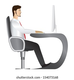 Office worker in white shirt and red tie sitting in comfortable armchair at apple form table and working on desktop computer.