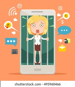 Office worker woman character hostage of modern technologies. Vector flat cartoon illustration