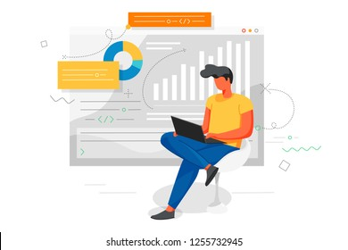 An office worker working with a notebook,  studying the infographic business and analysis of the evolutionary scale. Vector illustration