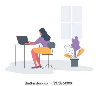 Office worker in the workplace. Back view. Young woman is sitting at the desk on a window background. There is also a laptop and a flower in the picture. Funky flat style. Vector