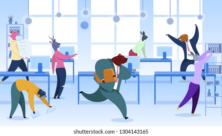 Office Workers with Animals Heads Vector Clipart. Metaphor of Workers as Fox, Rabbit, Deer. Flat Color Cartoon Humanised Mammals. Work Rush, Deadline Concept. Busy, Stressed Employees. Bear with Case