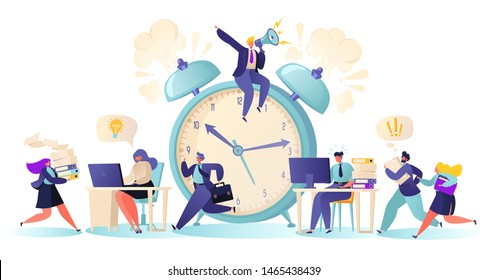 Office workers and business people working overtime at Deadline. Flat сartoon  characters work in high stress conditions and under hard boss pressure. Time management on the road to success.