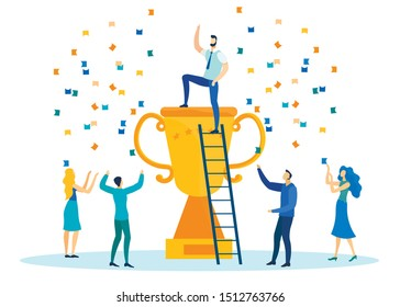 Office Workers Celebrating Victory in Competition Flat Cartoon Vector illustration. Man Getting on Cup Top, Winner Standing on Award under Confetti in Company. Guy Climbing by Ladder.