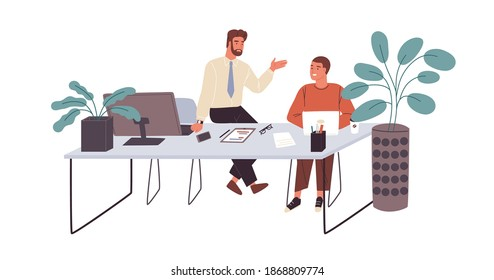 Office workers or clerks chatting during break time at workplace. Smiling men talking at office desk. Informal communication between colleagues. Flat vector illustration isolated on white background