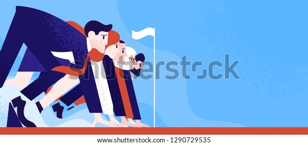 Office workers or clerks standing ready on start line before race or sprint. Business competition or rivalry between employees or colleagues. Colorful vector illustration in flat cartoon style.