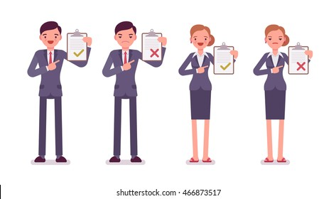 Office workers with clipboards. Men and women in a formal wear. The set of characters isolated against the white background. Cartoon vector flat-style business illustration