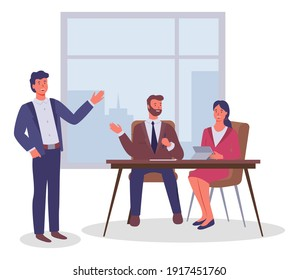 Office workers, colleagues communicating, executive guy and woman with digital tablet sitting at table and talking standing colleague, businesspeople in office near window, workplace, flat style