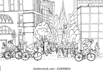 Office workers commute to the City centre by bikes. Cyclists on the City roads. Healthy life concept illustration.