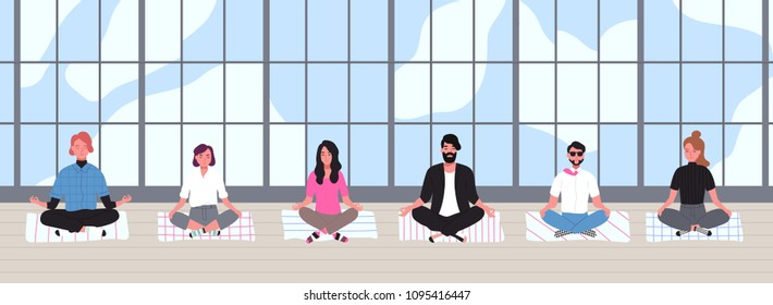 Office workers dressed in smart clothes sit with crossed legs and meditate against panoramic window on background. Business meditation and team building activity. Flat cartoon vector illustration