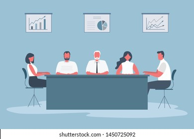 Office workers during the meeting. Employees are sitting at the table in the office. There are also diagrams on the wall. Conference hall. Funky flat style. Vector illustration.