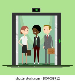Office workers in an elevator